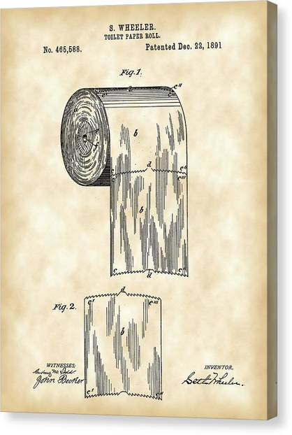 Ply Canvas Print - Toilet Paper Roll Patent 1891 - Vintage by Stephen Younts