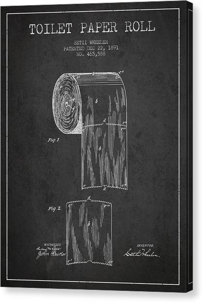 Bathroom Canvas Print - Toilet Paper Roll Patent Drawing From 1891 - Dark by Aged Pixel