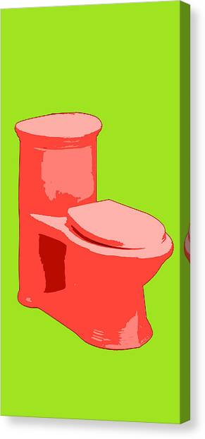 Toilette In Red Canvas Print
