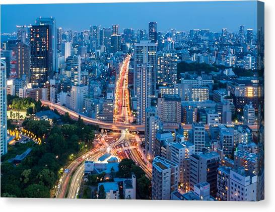 Tokyo City View From Tokyo Tower At Canvas Print by Photography By Zhangxun