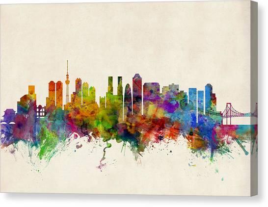 Watercolour Canvas Print - Tokyo Japan Skyline by Michael Tompsett