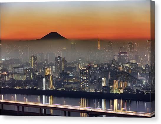 Tokyo Mt Fuji Fog Canvas Print by Krzysztof Baranowski