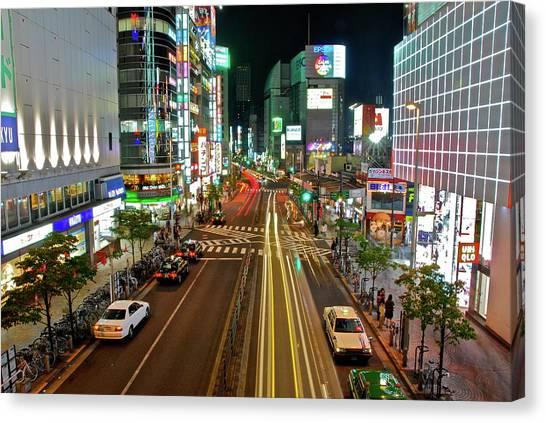 Tokyo Neon Streaks Canvas Print