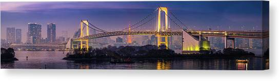 Tokyo Rainbow Bridge Soaring Over Canvas Print by Fotovoyager