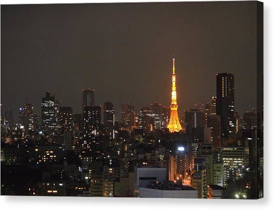 Tokyo Skyline Canvas Print - Tokyo Skyline At Night With Tokyo Tower by Jeff at JSJ Photography