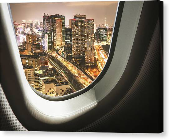 Tokyo Skyline From The Airplane Canvas Print by Franckreporter