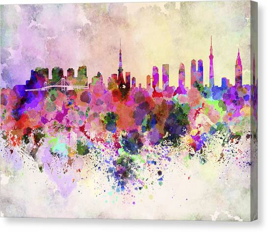 Tokyo Skyline Canvas Print - Tokyo Skyline In Watercolor Background by Pablo Romero