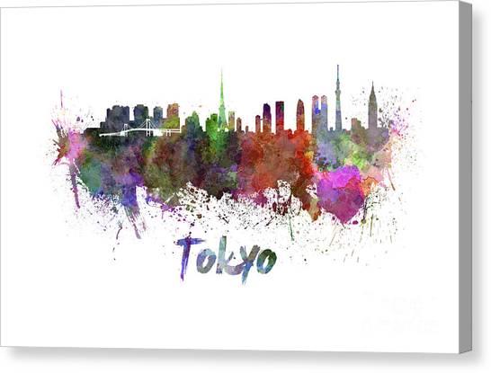 Tokyo Skyline Canvas Print - Tokyo Skyline In Watercolor by Pablo Romero