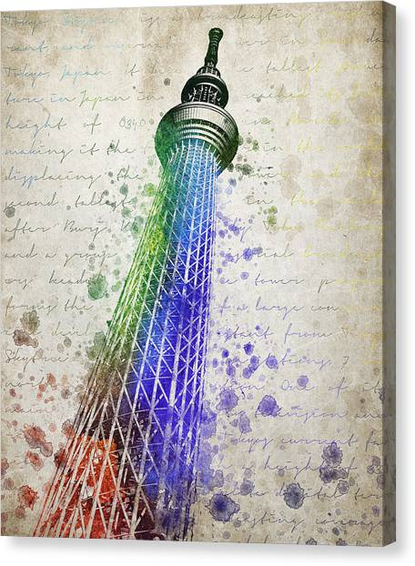 Tokyo Skyline Canvas Print - Tokyo Skytree by Aged Pixel