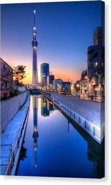 Tokyo Skyline Canvas Print - Tokyo Skytree Reflected by Duane Walker