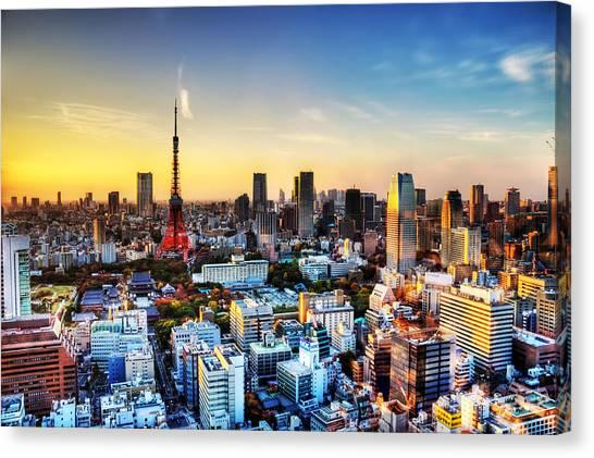 Tokyo Skyline Canvas Print - Tokyo Sunset by Duane Walker