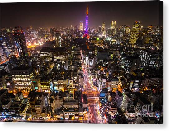 Tokyo Skyline Canvas Print - Tokyo Tower - Tokyo - Japan by Luciano Mortula