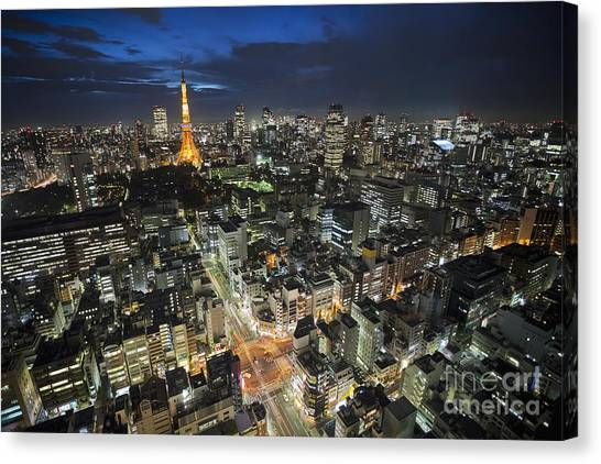 Canvas Print featuring the photograph Tokyo Tower At Night by Bryan Mullennix