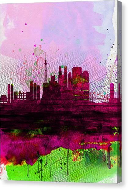 Tokyo Skyline Canvas Print - Tokyo Watercolor Skyline by Naxart Studio