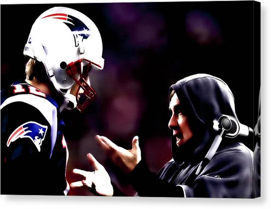 John Elway Canvas Print - Tom Brady And Coach by Brian Reaves
