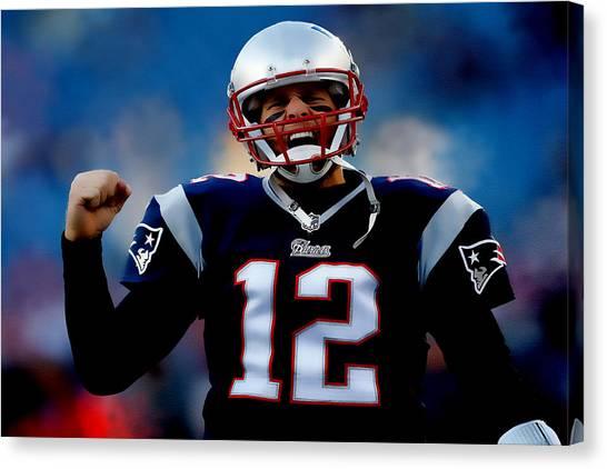 Joe Montana Canvas Print - Tom Brady Back To The Super Bowl by Brian Reaves