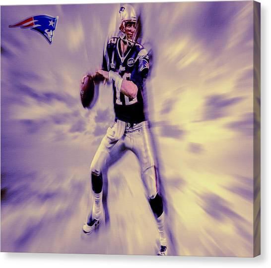 Joe Montana Canvas Print - Tom Brady In The Pocket by Brian Reaves