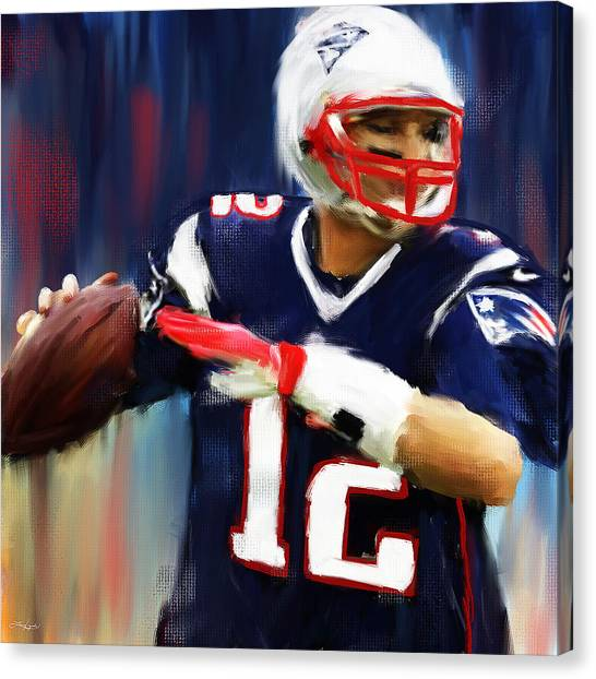 Superbowl Canvas Print - Tom Brady by Lourry Legarde