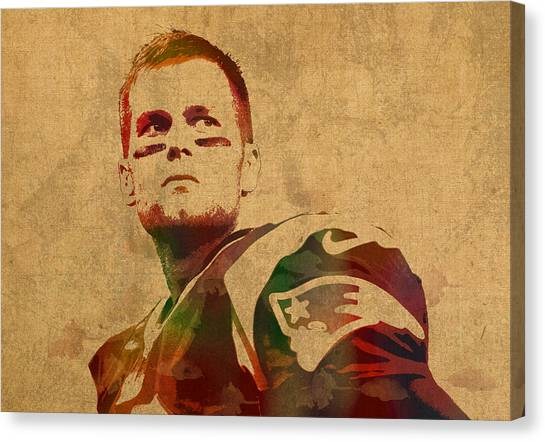 Quarterbacks Canvas Print - Tom Brady New England Patriots Quarterback Watercolor Portrait On Distressed Worn Canvas by Design Turnpike