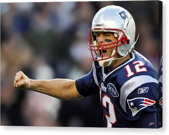Tom Brady Canvas Print - Tom Brady - Portrait by Paul Tagliamonte