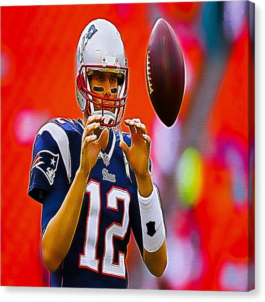 Joe Montana Canvas Print - Tom Brady Prep For Game by Brian Reaves