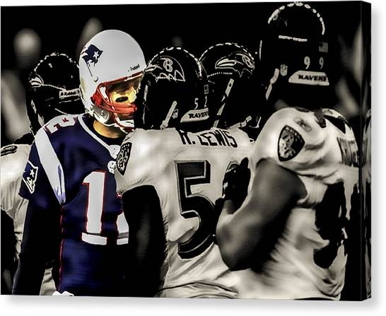 Joe Montana Canvas Print - Tom Brady Surrounded By Ravens by Brian Reaves