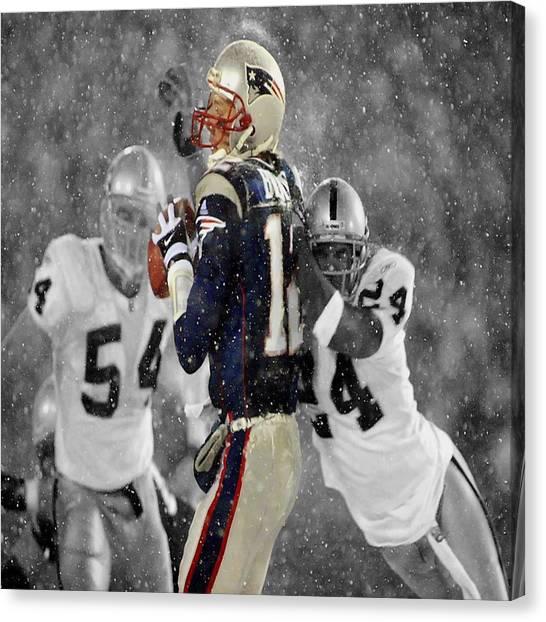 Joe Montana Canvas Print - Tom Brady Under Pressure by Brian Reaves