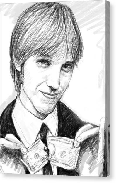 Tom Petty Canvas Print - Tom Petty Art Drawing Sketch Portrait by Kim Wang