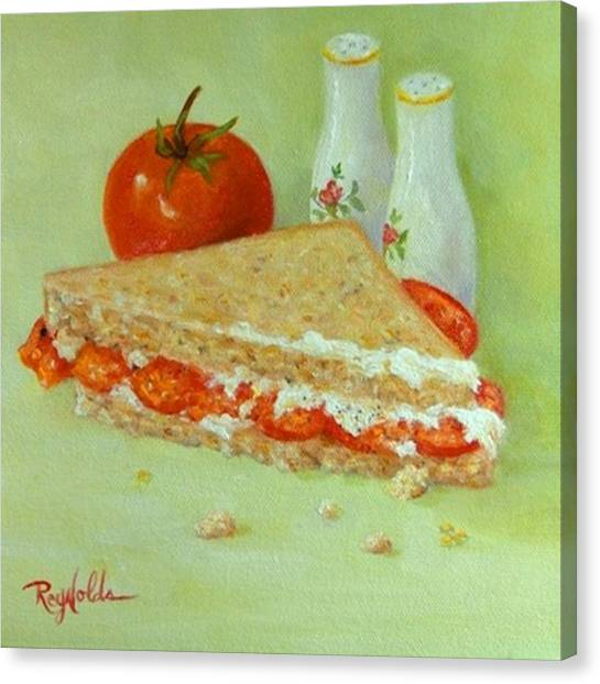 Mayonnaise Canvas Print - Tomato Sandwich Half by Carol Reynolds