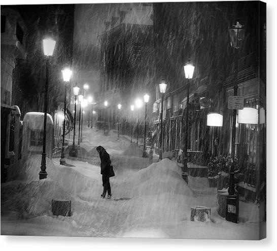 Winter Canvas Print - Tombe La Neige... by Cristian Andreescu