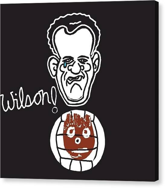 Volleyball Canvas Print - #tomhanksds #wilson #castaway by Michelle Cronin