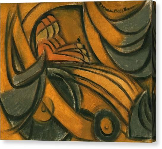 Backhoes Canvas Print - Man Bulldozing Art Print by Tommervik