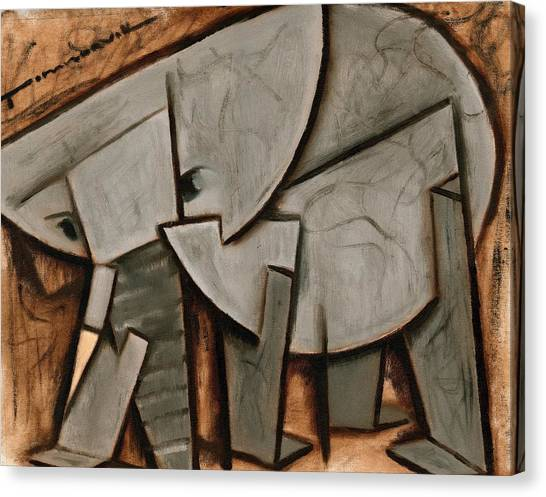 Abstract Cubism Elephant Art Print Canvas Print