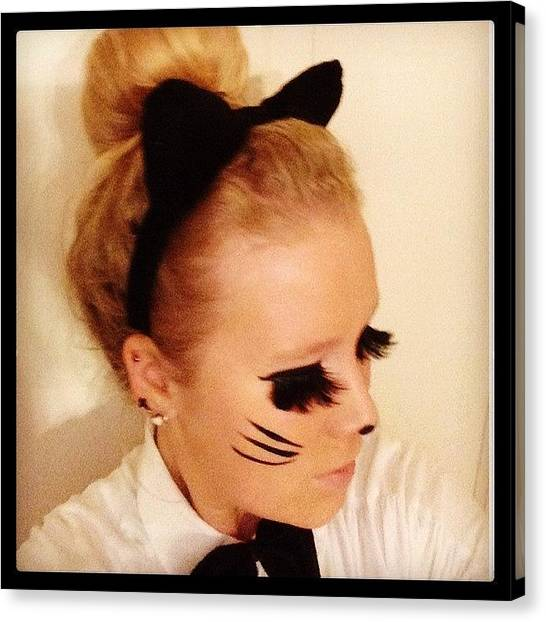 Bartender Canvas Print - Tonight I'm A Kitty Cat. #working by Nikki Jansen