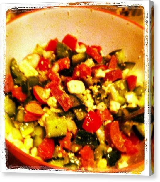 Onions Canvas Print - Tonight's Salad Feat. #peppers #onions by Gabe Nikk