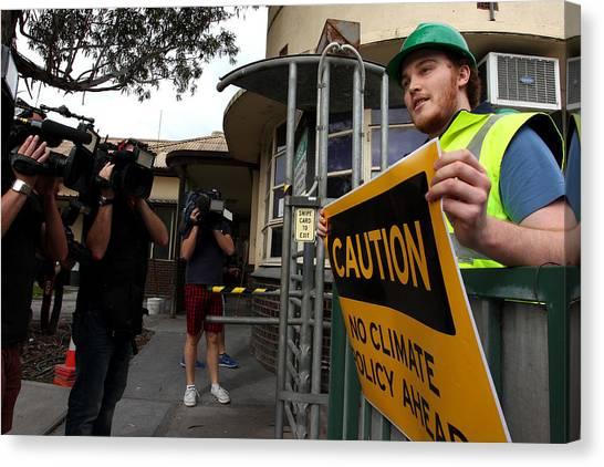 Tony Abbott Visits Adelaide As Marginal Seats Threatened Canvas Print by Lisa Maree Williams