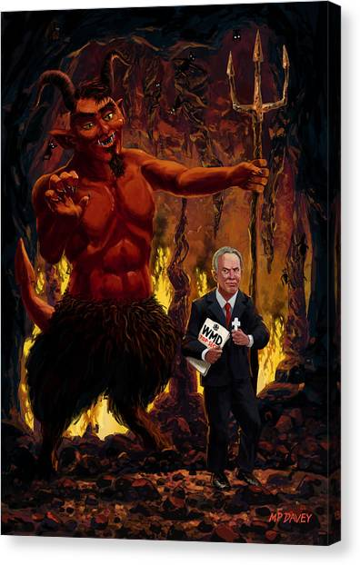 Iraq Canvas Print - Tony Blair In Hell With Devil And Holding Weapons Of Mass Destruction Document by Martin Davey