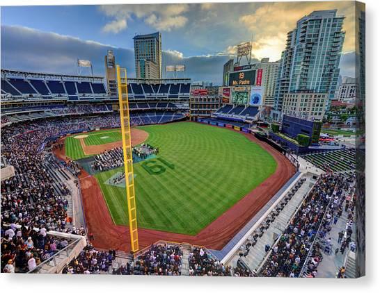 San Diego Padres Canvas Print - Tony Gwynn Tribute At Petco Park by Mark Whitt