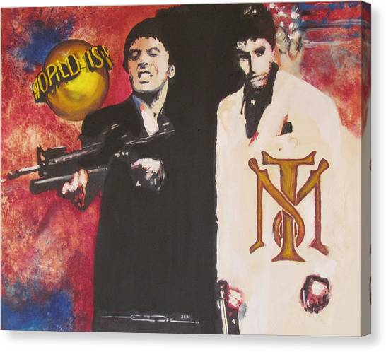 Tony Montana And Friend Canvas Print by Eric Dee