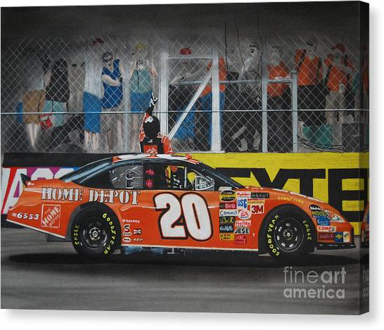 Tony Stewart Canvas Print - Tony Stewart Climbs For The Checkered Flag by Paul Kuras