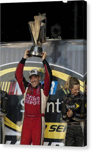 Tony Stewart Canvas Print - Tony Stewart Cup Champ 3 by Kevin Cable