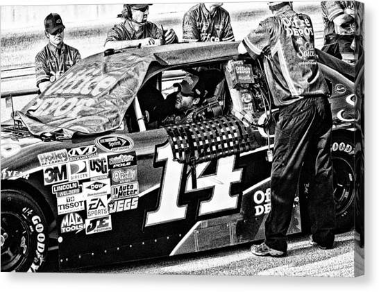 Tony Stewart Canvas Print - Tony Stewart In Car by Kevin Cable