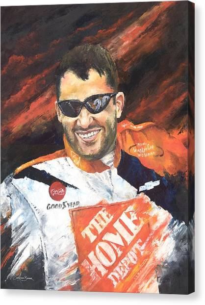 Tony Stewart Canvas Print - Tony Stewart - Nascar by Christiaan Bekker