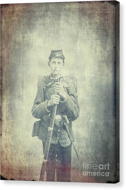 Confederate Army Canvas Print - Too Young To Die by Edward Fielding