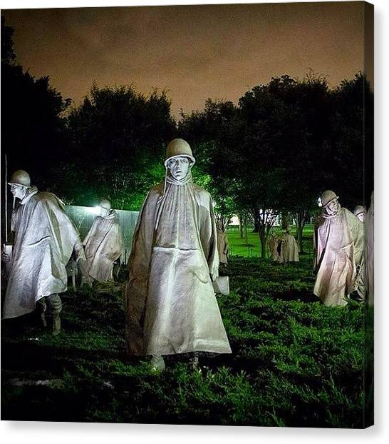 Soldiers Canvas Print - Took This Night Shot Last Year In Dc At by Luana De Oliveira