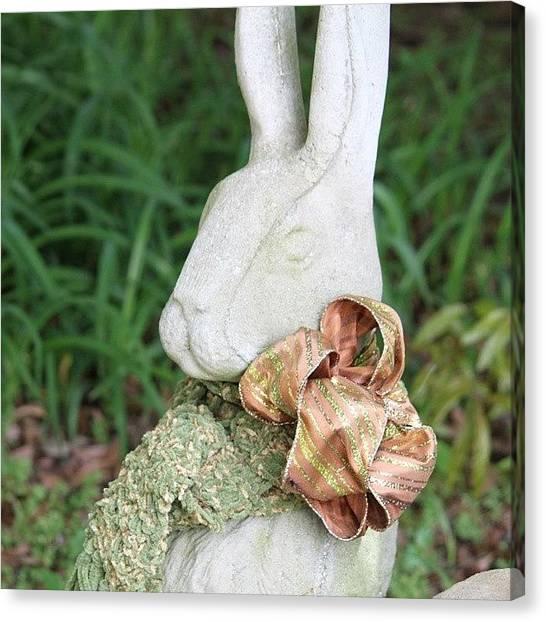 Rabbits Canvas Print - Bunny Statue by Jessica Thomas