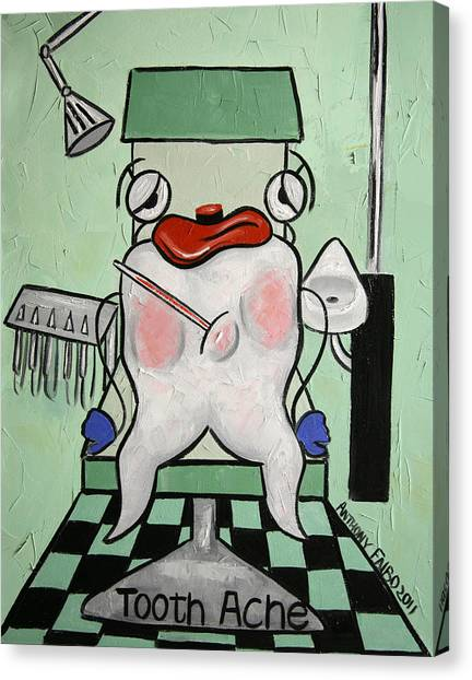 Canvas Print featuring the painting Tooth Ache by Anthony Falbo