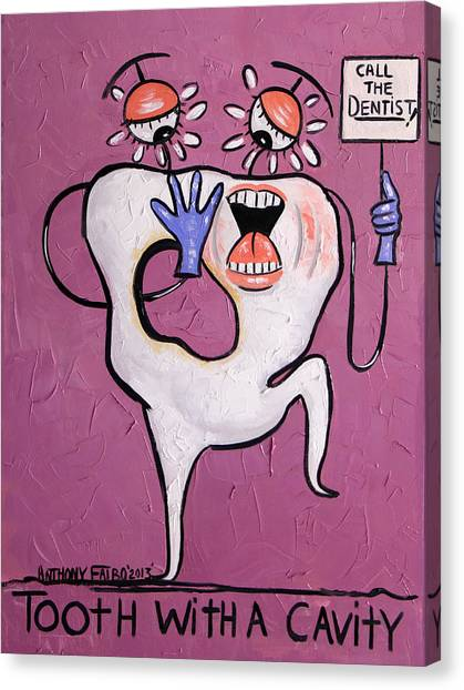 Dentists Canvas Print - Tooth With A Cavity Dental Art By Anthony Falbo by Anthony Falbo
