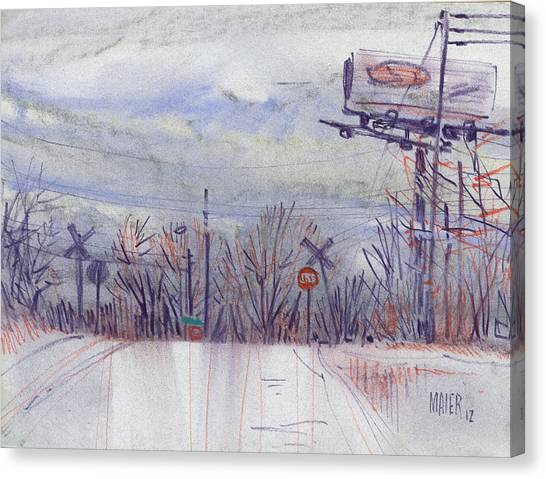 Train Canvas Print - Top Of The Hill by Donald Maier