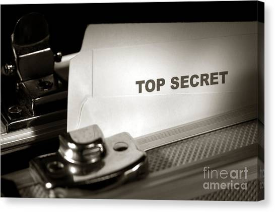 Folders Canvas Print - Top Secret Document In Armored Briefcase by Olivier Le Queinec